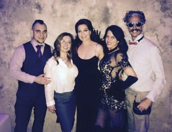 Wry was a performer at SPLA's Black Tie Bondage Afterparty, featuring his BDSM work with rope and Blaise Wrap suspension. Pictured here with author and educator Midori, Hudsy Hawn, Gabriela Cordova, and Johnny White of Stockroom.